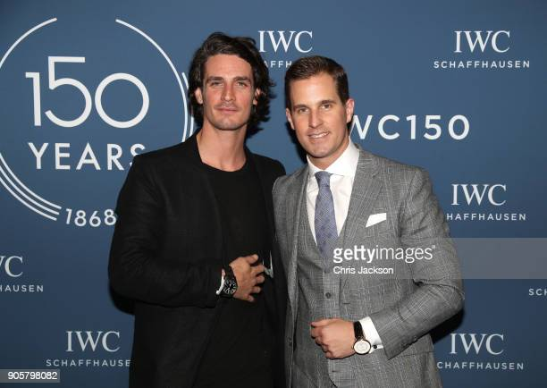 Patrick Seabase and IWC Schaffhausen CEO Christoph GraingerHerr visit the IWC booth during the Maison's launch of its Jubilee Collection at the Salon...