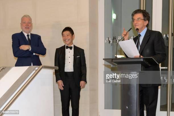 Patrick SeguinYusaku Maezawa and former ministre of Culture Jack Lang attend Yusaku Maezawa Patrick Seguin Awarded Chevalier Des Arts et Lettres on...