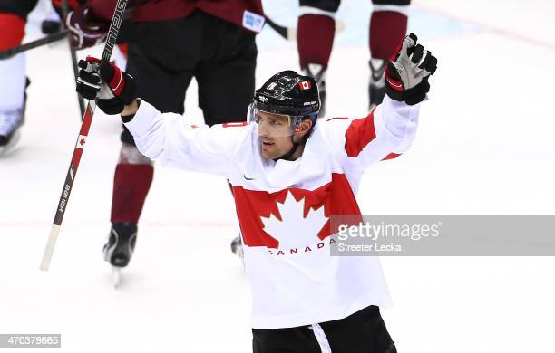 Patrick Sharp of Canada celebrates after scoring a firstperiod goal against Latvia during the Men's Ice Hockey Quarterfinal Playoff on Day 12 of the...