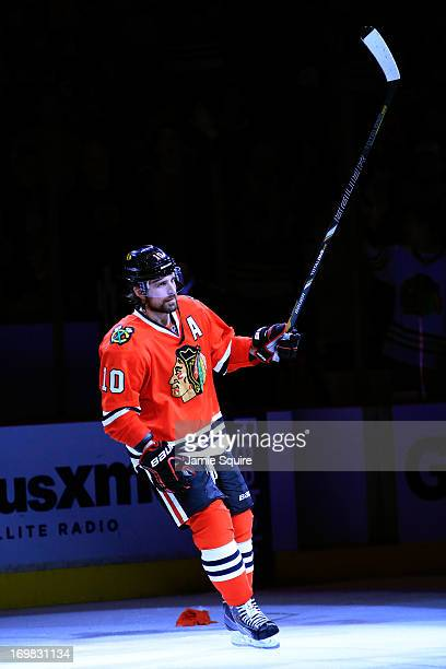 Patrick Sharp of the Chicago Blackhawks acknowledges the fans after being selected star number one of Game Two of the Western Conference Final...