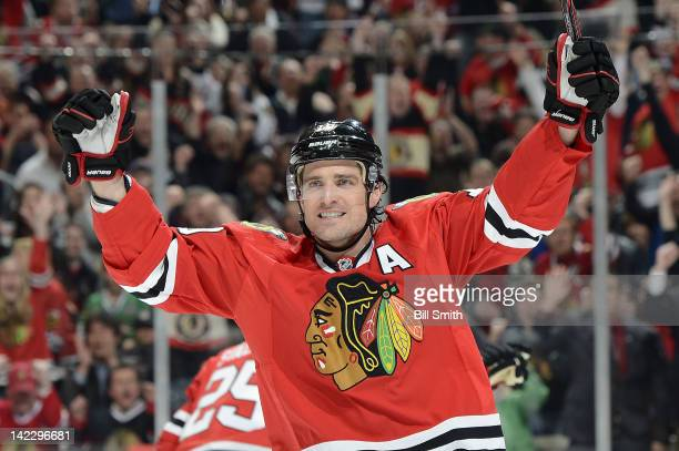 Patrick Sharp of the Chicago Blackhawks celebrates after scoring against the Minnesota Wild during the NHL game on April 1 2012 at the United Center...