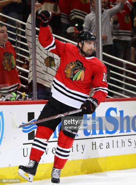 Patrick Sharp of the Chicago Blackhawks celebrates his gametying goal in the third period against the Nashville Predators at the United Center on...