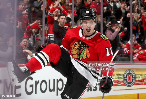 Patrick Sharp of the Chicago Blackhawks reacts after scoring against the Vegas Golden Knights in the second period at the United Center on January 5...