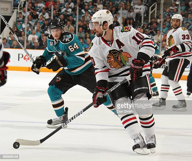 Patrick Sharp of the Chicago Blackhawks settles the puck in Game One of the Western Conference Finals during the 2010 NHL Stanley Cup Playoffs...