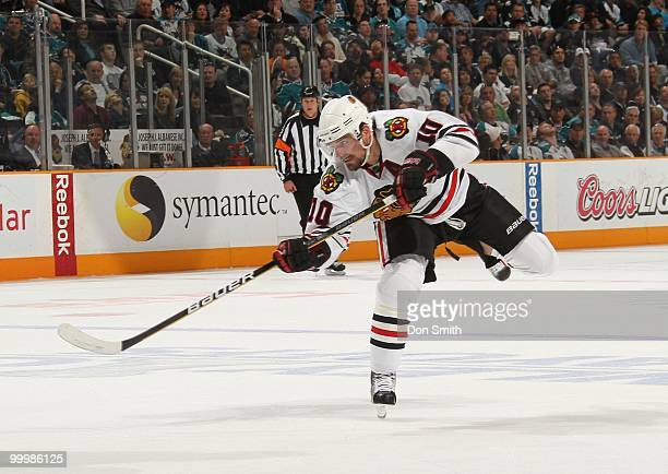 Patrick Sharp of the Chicago Blackhawks shoots from the point in Game One of the Western Conference Finals during the 2010 NHL Stanley Cup Playoffs...