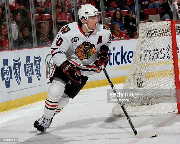 Patrick Sharp of the Chicago Blackhawks skates out from behind the net during a NHL game against the Detroit Red Wings on April 6 2008 at Joe Louis...