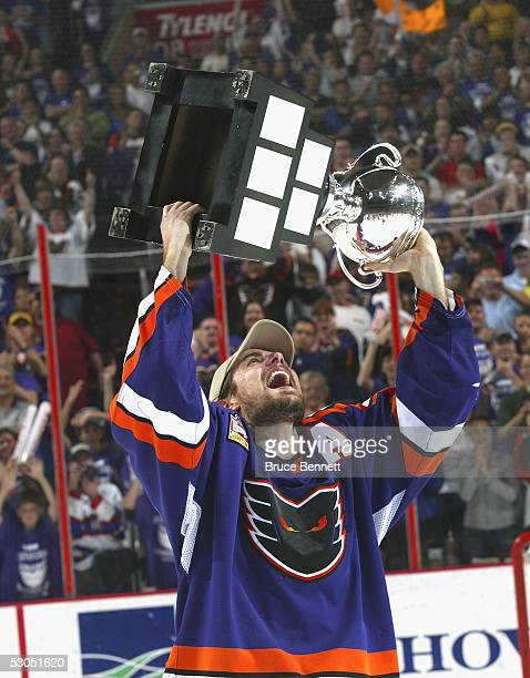 Patrick Sharp of the Philadelphia Phantoms celebrates the Phantoms 52 Calder Cup win over the Chicago Wolves at the Wachovia Center on June 10 2005...