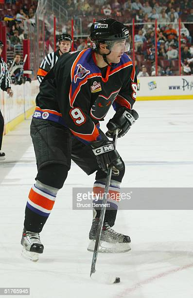 Patrick Sharp of the Philadelphia Phantoms looks to make a play from the wing against the Hamilton Bulldogs during the American Hockey League game on...