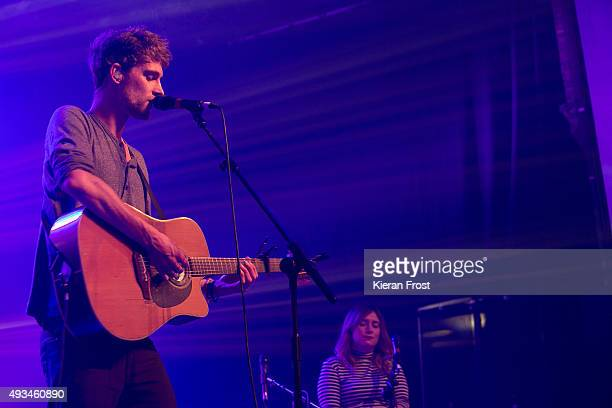 Patrick Sheehy and Sorcha Durham of Walking on Cars performs at The Olympia Theatre on October 20, 2015 in Dublin, Ireland.