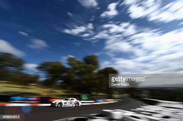 Patrick Simon drives the MISHUMOTORS MercedesBenz SLS AMG GT3 during the Bathurst 12 Hour Race at Mount Panorama on February 7 2016 in Bathurst...