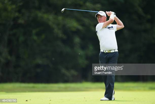 Patrick Sjoland of Sweden plays a shot during the first round of the 71st Italian Open Damiani at Circolo Golf Torino on August 28 2014 in Turin Italy