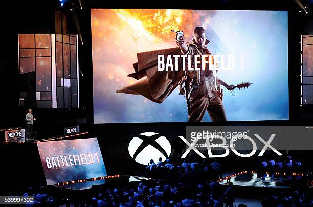 Patrick Soderlund Executive Vice President EA Studios introduces the video game |Battlefield 1' during Microsoft Corp Xbox at the Galen Center on...