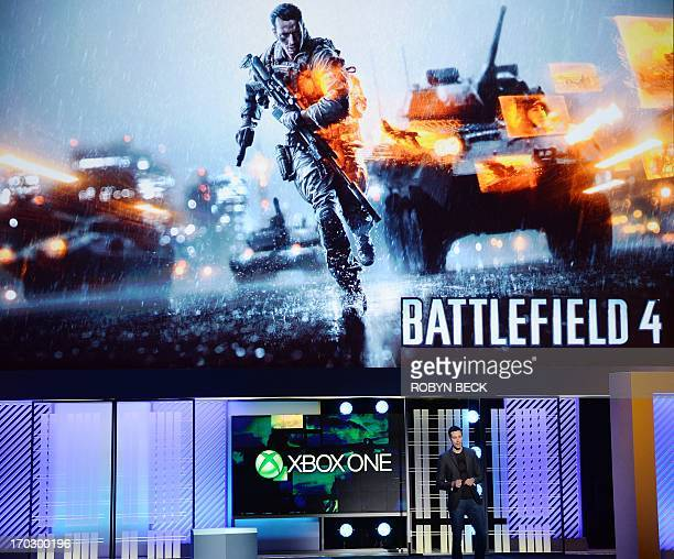Patrick Soderlund executive vice president of EA Games presents Battlefield 4 at the Microsoft Xbox E3 2013 Media Briefing in Los Angeles on June 10...