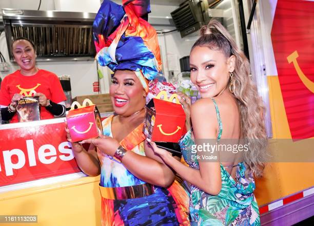 Patrick Starrr and Desi Perkins are seen as McDonald's brings Happy Meals and Festive Moments to The Lion King Premiere After Party at Dolby Theatre...