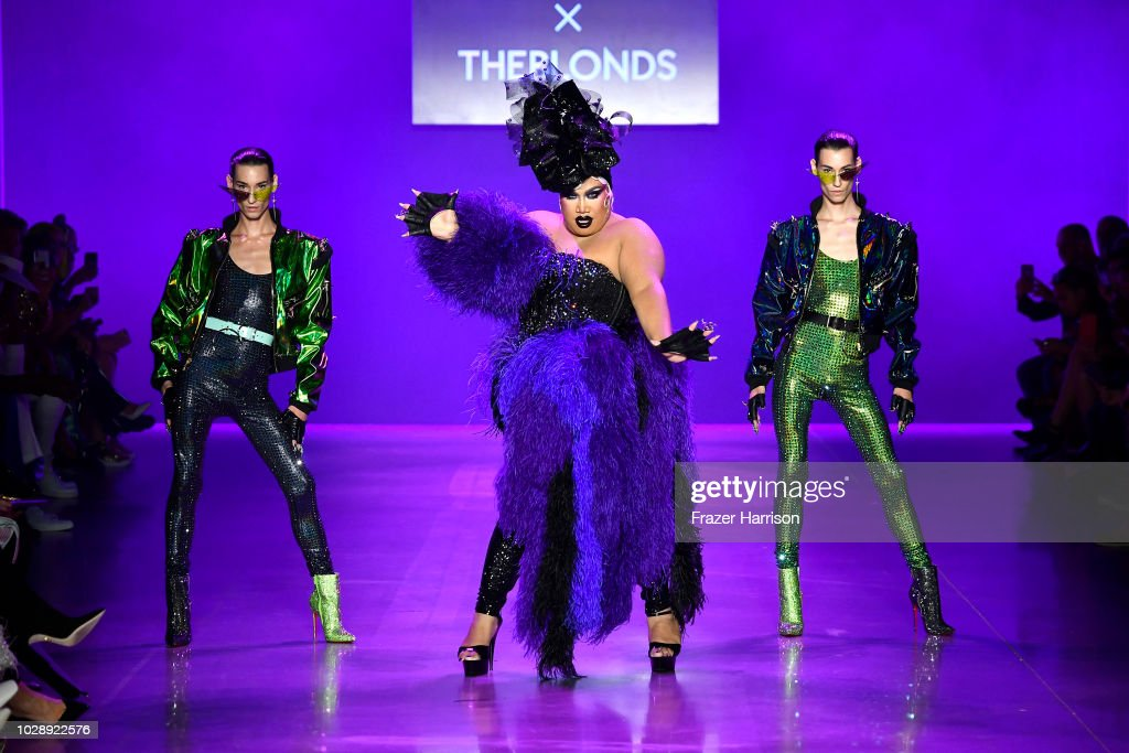 Patrick Starr (C) and models walk the runway at the Disney Villains x The Blonds NYFW Show during New York Fashion Week: The Shows at Gallery I at Spring Studios on September 7, 2018 in New York City.