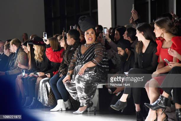 Patrick Starrr attends the Badgley Mischka front row during New York Fashion Week: The Shows at Gallery I at Spring Studios on February 7, 2019 in...