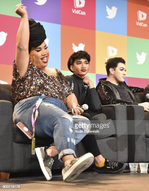 Patrick Starrr Bretman Rock and Manny Mua speak onstage at 2017 VidCon at the Anaheim Convention Center on June 23 2017 in Anaheim California