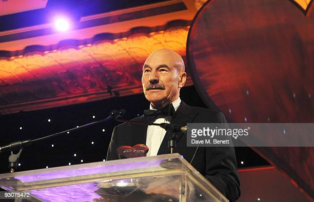 Patrick Stewart addresses the audience during the Variety Club Showbiz Awards at the Grosvenor House on November 15 2009 in London England