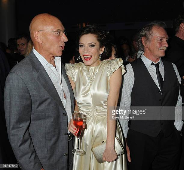 Patrick Stewart and Anna Friel with her father Des Friel attend the afterparty following the press night of 'Breakfast At Tiffany's' at the Haymarket...
