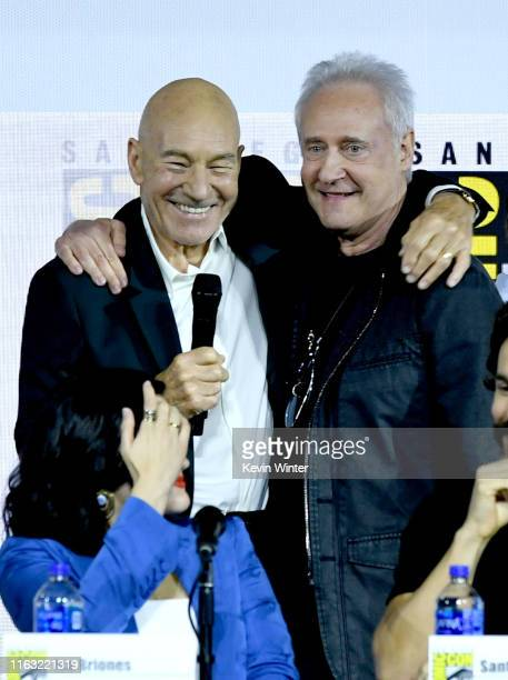 """Patrick Stewart and Brent Spiner speak at the """"Enter The Star Trek Universe"""" Panel during 2019 Comic-Con International at San Diego Convention Center..."""