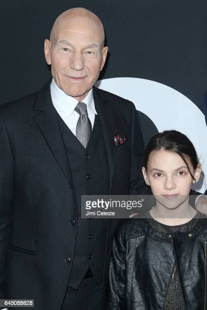 Patrick Stewart and Dafne Keen attends the New York screening of 'Logan' at the Rose Theater Jazz at Lincoln Center on February 24 2017 in New York...