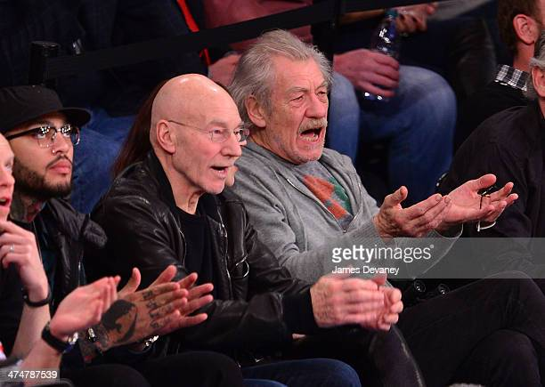 Patrick Stewart and Ian McKellen attend the Dallas Mavericks vs New York Knicks game at Madison Square Garden on February 24 2014 in New York City