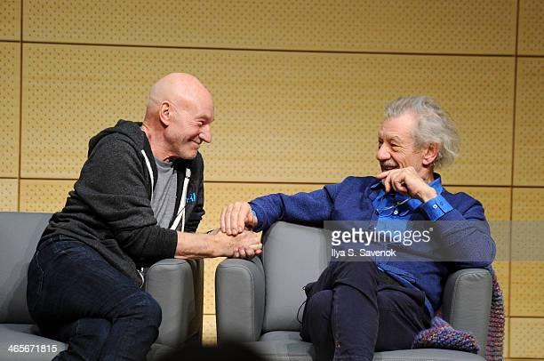 Patrick Stewart and Ian McKellen speak at John L. Tishman Auditorium at University Center on January 28, 2014 in New York City.