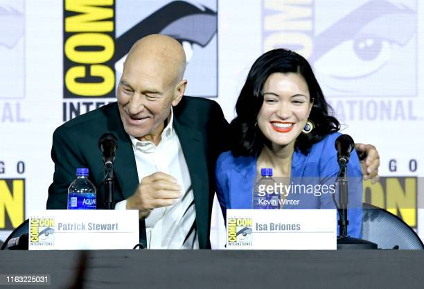 Patrick Stewart and Isa Briones speak at the Enter The Star Trek Universe Panel during 2019 ComicCon International at San Diego Convention Center on...