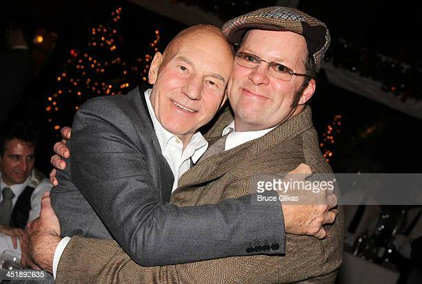 Patrick Stewart and Shuler Hensley pose at the 'No Man's Land' 'Waiting For Godot' Opening Night after party at the Bryant Park Grill on November 24...