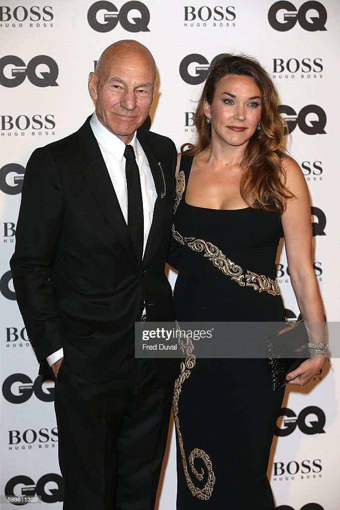 Patrick Stewart and Sunny Ozell arrive for GQ Men Of The Year Awards 2016 at Tate Modern on September 6, 2016 in London, England.
