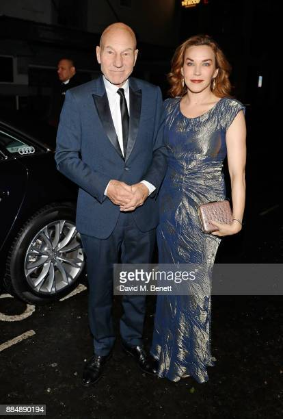 Patrick Stewart and Sunny Ozell arrive in an Audi at the Evening Standard Theatre Awards at Theatre Royal on December 3 2017 in London England