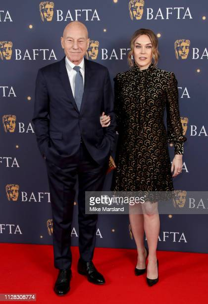 Patrick Stewart and Sunny Ozell attend the BAFTA Film Gala at the The Savoy Hotel ahead of the EE British Academy Film Awards this Sunday on February...
