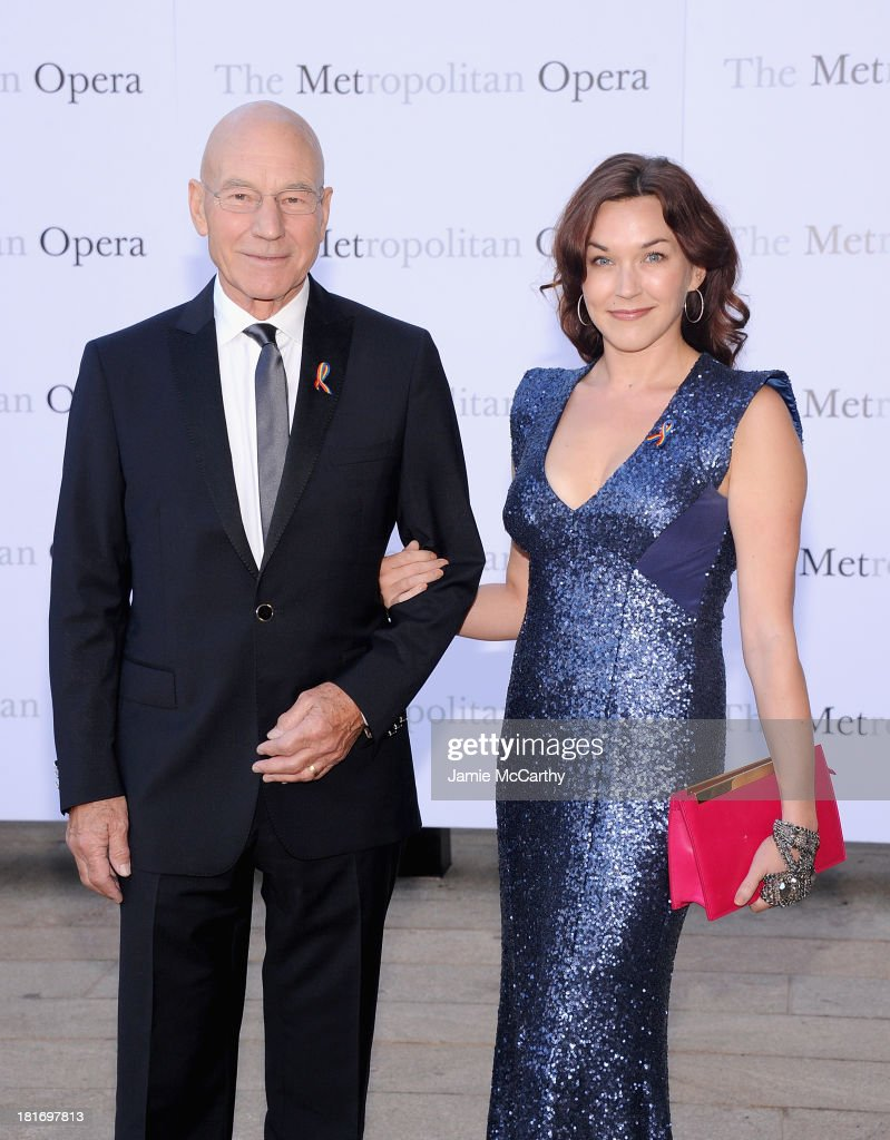 Patrick Stewart and Sunny Ozell attend the Metropolitan Opera Season Opening Production Of 'Eugene Onegin' at The Metropolitan Opera House on September 23, 2013 in New York City.