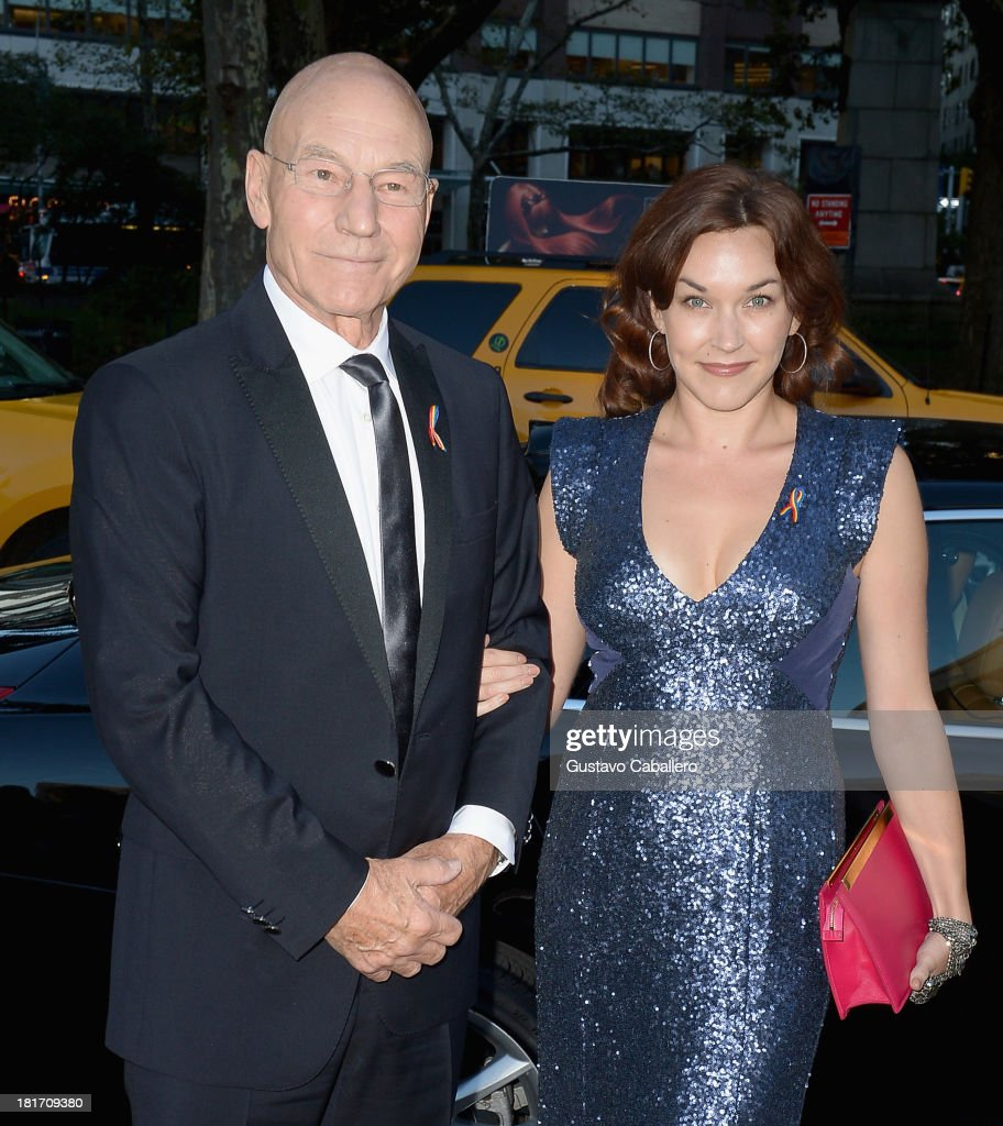 Patrick Stewart and Sunny Ozell is seen New York on September 23, 2013 in New York City.