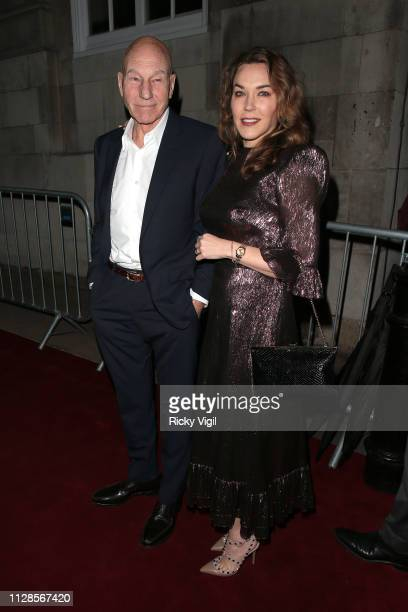 Patrick Stewart and Sunny Ozell seen attending the Charles Finch Pre-BAFTA Party at Loulou's on February 09, 2019 in London, England.