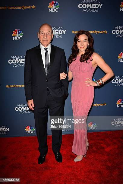 Patrick Stewart and wife recording artist Sunny Ozell attend the 2014 American Comedy Awards at Hammerstein Ballroom on April 26, 2014 in New York...