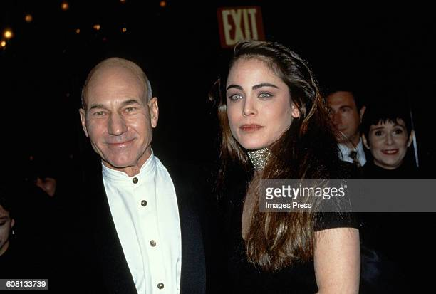 Patrick Stewart and Yancy Butler attends the Premiere of Ready To Wear circa 1994 in New York City