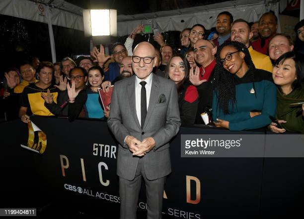 """Patrick Stewart arrives at the premiere of CBS All Access' """"Star Trek: Picard"""" at ArcLight Cinerama Dome on January 13, 2020 in Hollywood, California."""