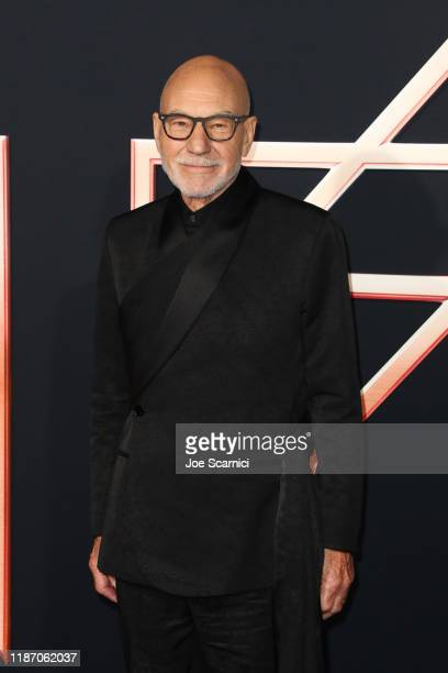 """Patrick Stewart arrives at the premiere of Columbia Pictures' """"Charlie's Angels"""" at Westwood Regency Theater on November 11, 2019 in Los Angeles,..."""