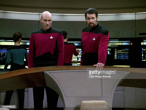 Patrick Stewart as Captain JeanLuc Picard and Jonathan Frakes as Commander William T Riker in the STAR TREK THE NEXT GENERATION episode The Hunted...