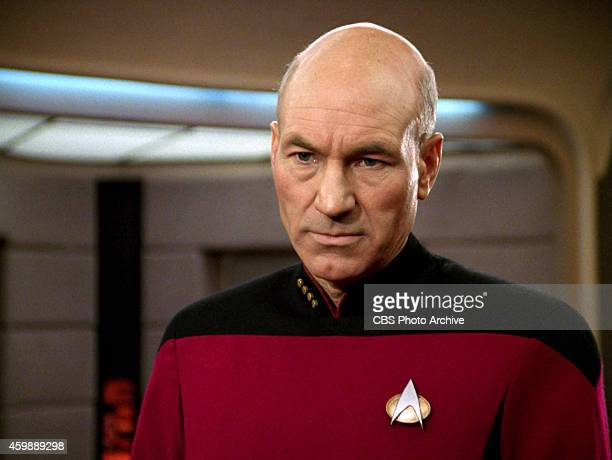 """Patrick Stewart as Captain Jean-Luc Picard in the STAR TREK: THE NEXT GENERATION episode, """"The Hunted."""" Season 3, episode 11. Original air date,..."""
