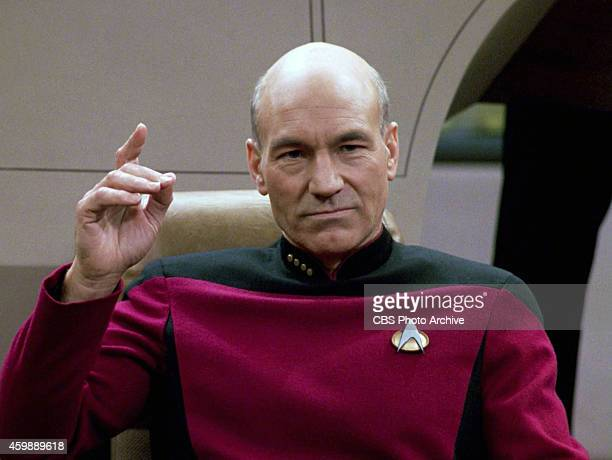 Patrick Stewart as Captain JeanLuc Picard in the STAR TREK THE NEXT GENERATION episode The Hunted Season 3 episode 11 Original air date January 8 1990