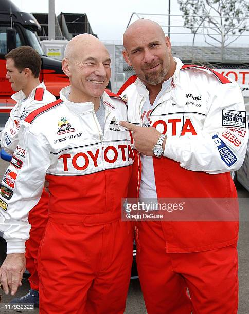 Patrick Stewart Bill Goldberg during 26th Annual Toyota Pro/Celebrity Race Press Day at Streets of Long Beach in Long Beach California United States