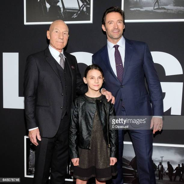 Patrick Stewart Dafne Keen and Hugh Jackman attend the 'Logan' New York screening at Rose Theater Jazz at Lincoln Center on February 24 2017 in New...