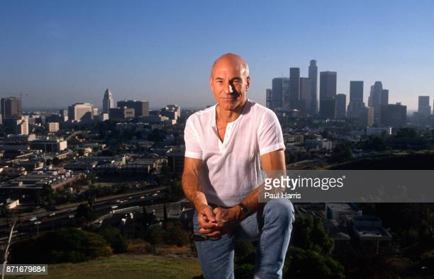 Patrick Stewart, English actor, he is most widely known for his roles as Captain Jean-Luc Picard in Star Trek: The Next Generation, photographed at...