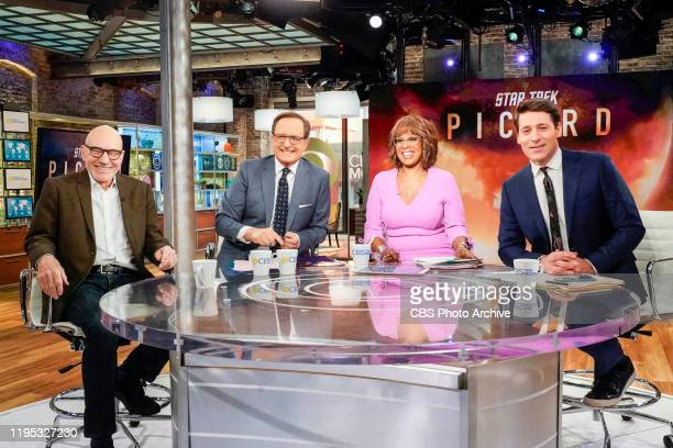Patrick Stewart from Star Trek: Picard on CBS THIS MORNING with co-hosts Gayle King, Anthony Mason, and Tony Dokoupil.