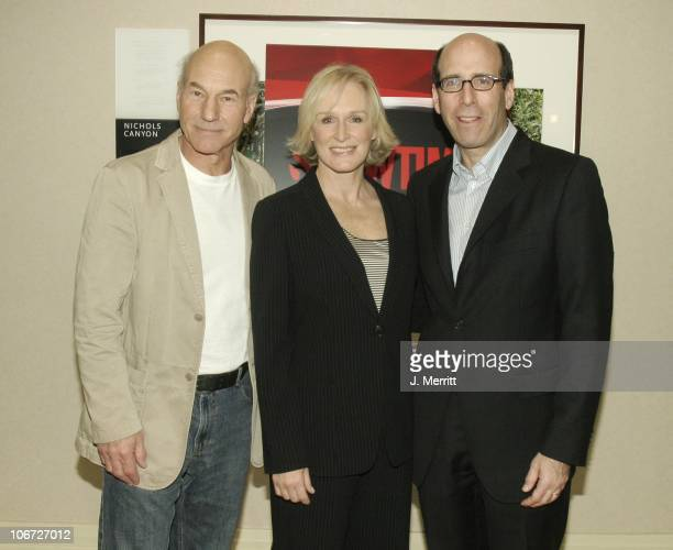Patrick Stewart Glenn Close and Matthew C Blank during Showtime Networks Presentation to The Television Critics Association at The Hollywood...