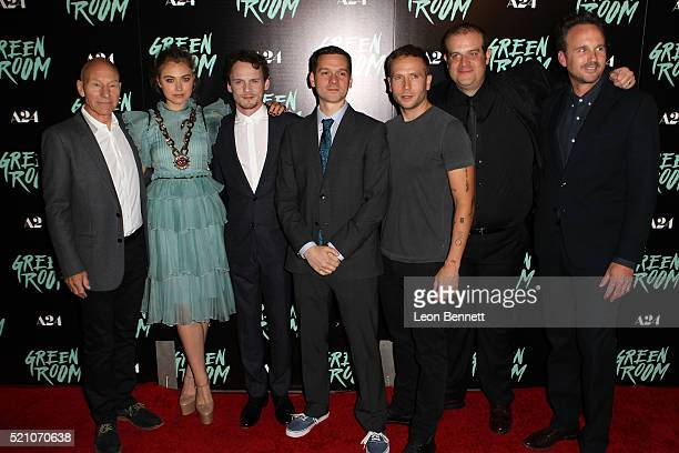 Patrick Stewart Imogen Poots Anton Yelchin Director Jeremy Saulnier Mark Webber Eric Edelstein and Kai Lennox attends the premiere of A24's 'Green...