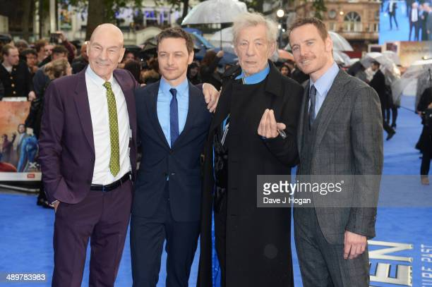 Patrick Stewart James McAvoy Sir Ian McKellen and Michael Fassbender attend the UK premiere of 'XMen Days Of Future Past' at the Odeon Leicester...