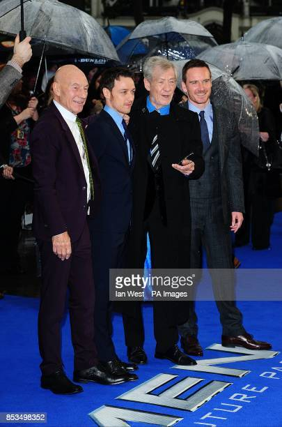 Patrick Stewart, James McAvoy, Sir Ian McKellen and Michael Fassbender arriving at the X-Men Days of Future Past UK premiere, at The West End Odeon,...